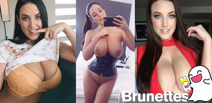 Brunette pornstar Angela White on Snapchat